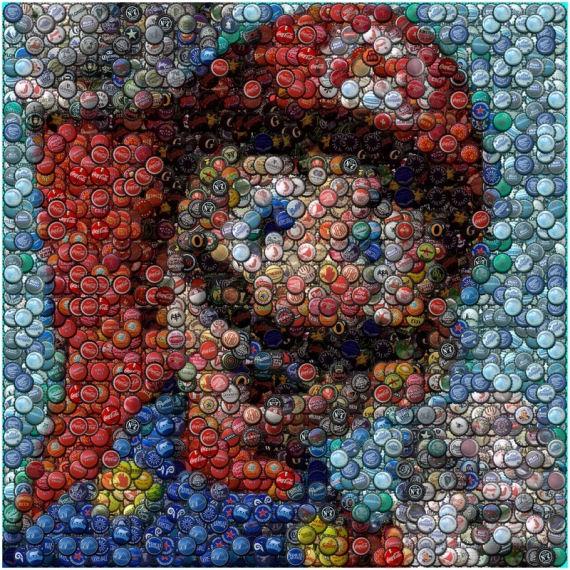 Mario Kunst Mit Kronkorken Gamesart
